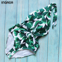 INGAGA Sexy Plunging One Piece Swimsuit 2018 Tropical Swimwear Women Halter Swimsuit Padded Summer Bathing Suits