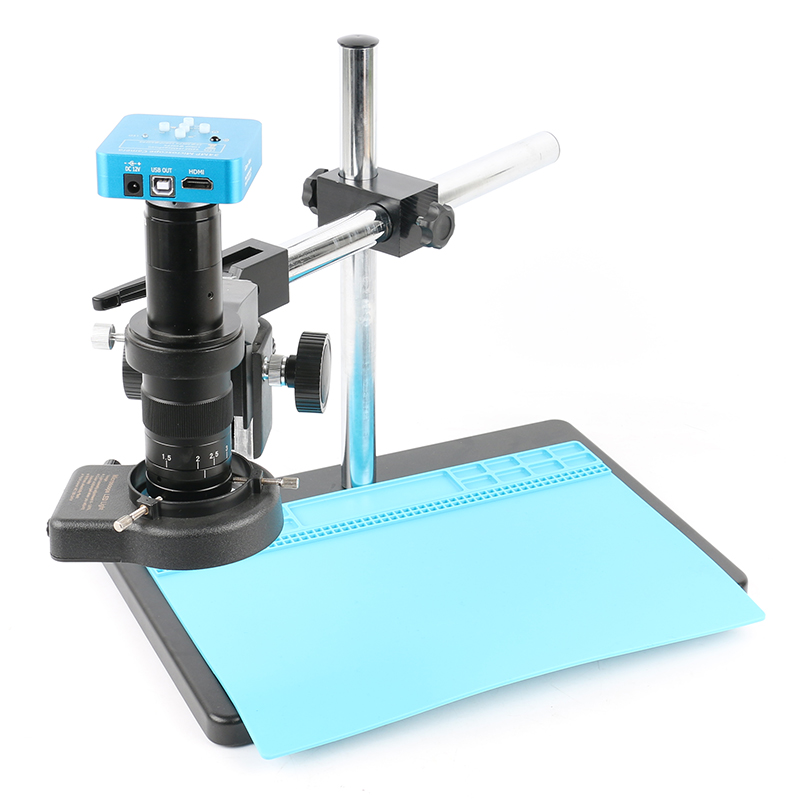 34MP 1080P Freely Adjustable Stand HDMI Video Industry Microscope Camera Video Recorder 180X 300X C-Mount Lens For PCB Soldering