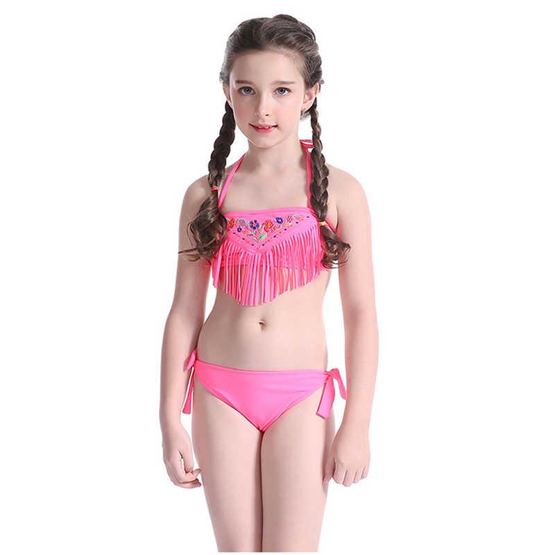 7945a32f53 Lovely Bikini Set Baby Bikini Children Swimsuit Girls Tassel Beach Two Pieces  Swimwear Kids Halter Bathing