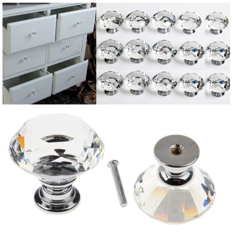 Clear Crystal Door Knob Glass Cabinet Handle Furniture Kitchen Decor