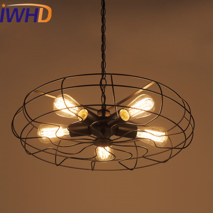 IWHD Loft Retro Vintage Lamp 3 Heads Iron Fan shape Pendant Lights Edison Style Industrial Pendant Lamp Bedroom Bar Cafe Lampen vintage edison chandelier rusty lampshade american industrial retro iron pendant lights cafe bar clothing store ceiling lamp