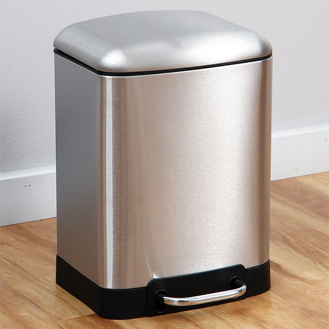 trash cans kitchen decor styles 6l garbage can stainless steel square waste bin step foot pedal outdoor bathroom office rubbish