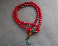 TNUKK 10mm Exquisite Chinese Artificial Red Coral Buddhist Prayer Bead Long Bracelet 33