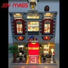 REVISTAS de ALEGRIA Led Kit para Rua Da Cidade Blocos de Construção Criador brigada de incêndio lepin 15004 casa de boneca modelo compatível com lego 10197