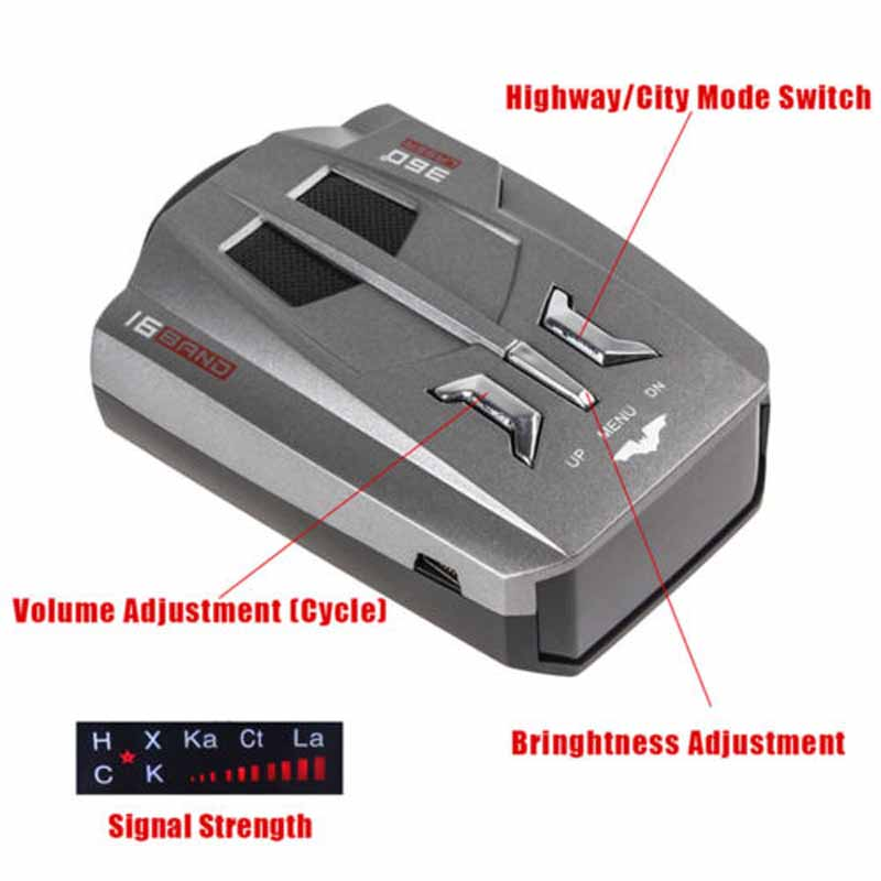 Car Trucker Speed V9 Laser Radar Detector Voice Alert Warning 16 Band Auto Radar Detector Car Speed Testing System LR10