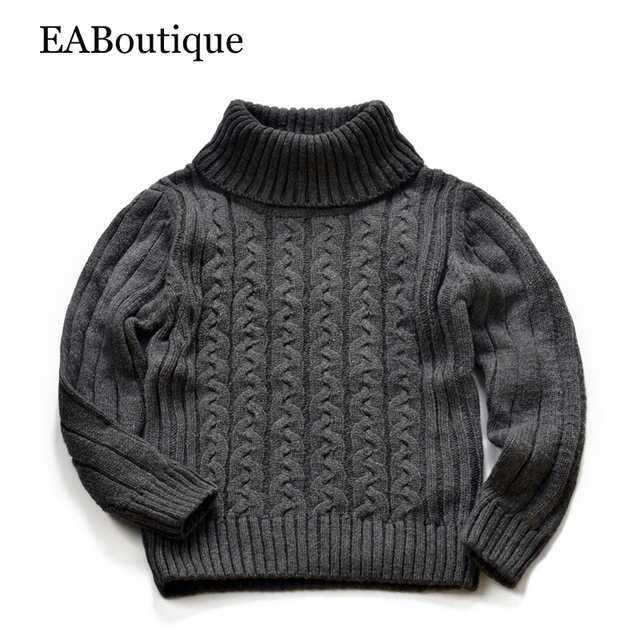 EABoutique 2016 Winter New Fashion Kinitting turtleneck sweater Vintage London style girls boys sweater for 2-7 years old