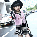 kids clothes girls winter dress sets teenage little girls clothes suits white pink fur vest striped dresses 2 pcs clothing sets