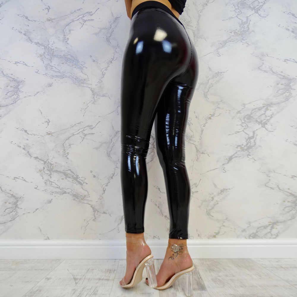 Kadın legging Pu deri pantolon spor tayt bayan Strethcy parlak spor Fitness pantolonları dipleri pantolon seksi deri pantolon # JY
