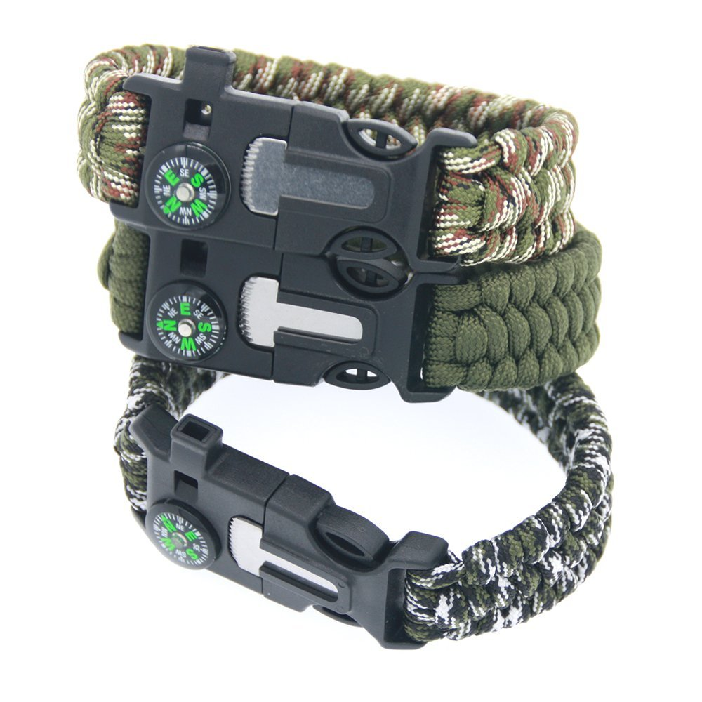 Paracord Rope Camping Survival Kits Parachute Wristband Rescue Bracelet Whistle Compass Outdoor Camping Survival Tools No Flint