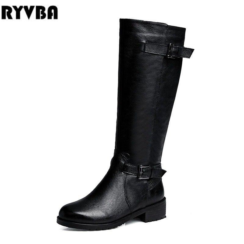 Noir Femmes 2019 Bottes Véritable Cuir Fthigh Ryvba Carrés Haute Chaussures Talons Hautes Femme Boucle D'hiver En Noires a8fBnxWgB