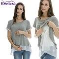 Emoción Mamás ropa de Verano de manga Corta Camiseta De Maternidad De Enfermería Tops de Maternidad para las mujeres embarazadas que Amamantan Tops Tees