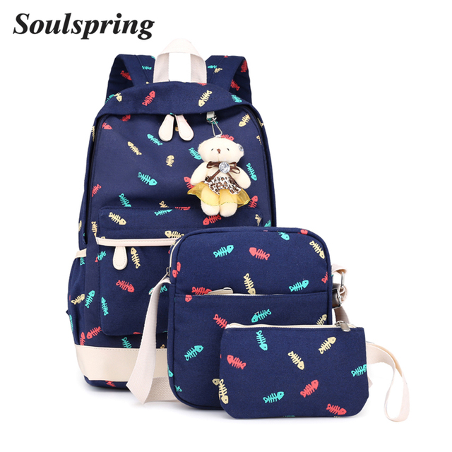 c57e9f473 Fashion Canvas 3 Sets Backpack Composite Bag Preppy Style School Bags  Female Backpacks For Teenage Girls Backpack Cute Bear Bag