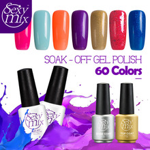 Sexy Mix 60 Colorful Gel Nail Polish UV Soak off Gel Lacquer 7ML Long Lasting Nail Varnishes for Nail Art Design Manicuer 3d DIY