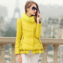 Down coat female fashion stand collar a slim solid color casual winter white duck down outerwear