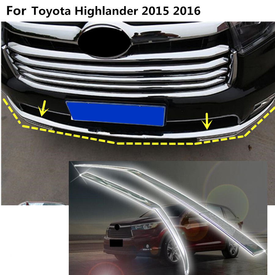 Car cover protection Bumper engine trim Front bottom Grid Grill Grille hoods edge For toyota Highlander 2015 2016 2017