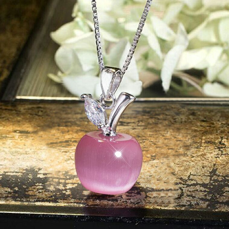 Adorable Apple natural opal stone Electroplated Silver necklaces pendants for women girls elegant noble quality necklace pendant