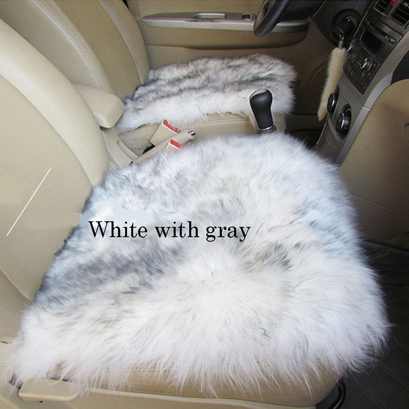 White and gray wool seat cover