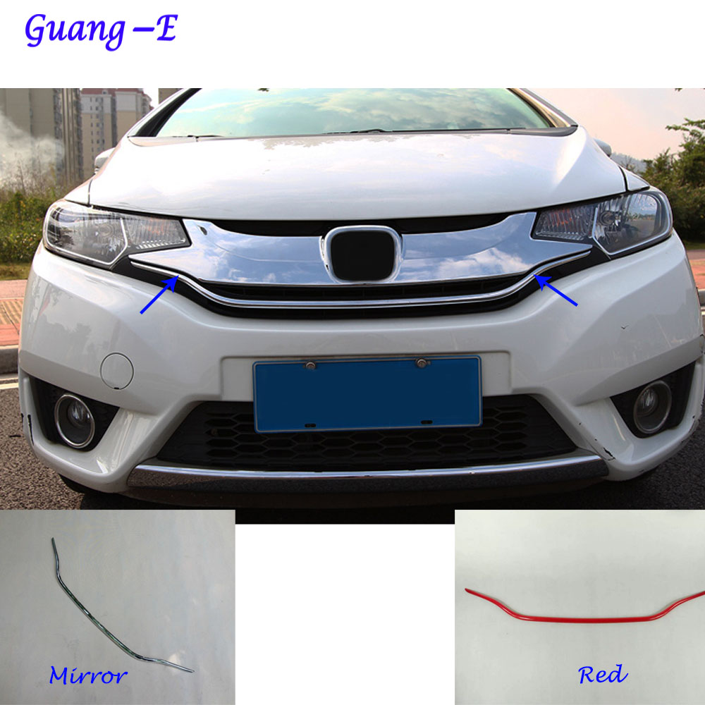 For Honda Fit jazz 2014 2015 2016 2017 car ABS chrome front engine Machine grille grill network hood stick lid trim lamp 1pcs high quality for toyota highlander 2015 2016 car cover bumper engine abs chrome trims front grid grill grille frame edge 1pcs