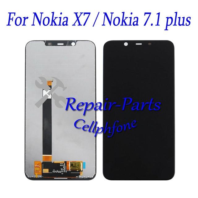 חדש 6.18 אינץ עבור Nokia 7.1 בתוספת מלא LCD תצוגה + מסך מגע Digitizer עצרת עבור Nokia X7 TA- 1131 מעקב מספר