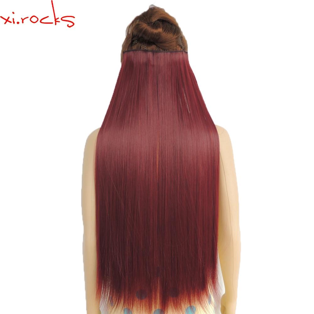 Wjz12070/Bug 5 pedaço Xi. rochas perucas Sintéticas Fibra De Comprimento Em Linha Reta Peruca Clips Grampo em Extensões Do Cabelo peruca Cor de Vinho Tinto