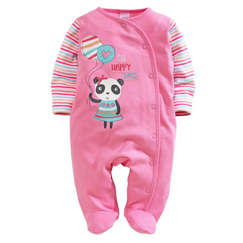Panda Baby Girl Pajamas Romper Foot Cover Newborn Rompers Pink Girls Dress One-Piece Clothes Infant Jumpsuit Little Mavens newborn baby rompers baby clothing 100% cotton infant jumpsuit ropa bebe long sleeve girl boys rompers costumes baby romper