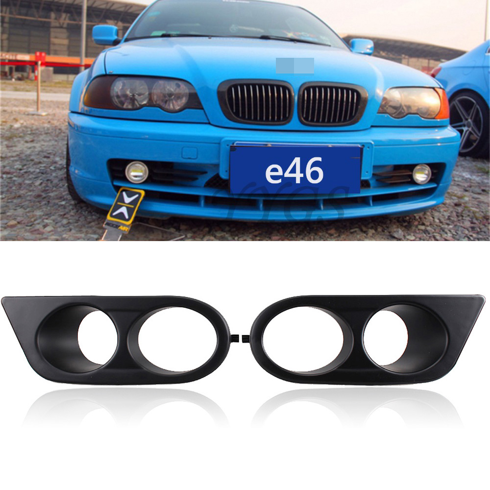 2x Car Cover Decoration Front Grille Grills For BMW 3-Series BMW E46 M3 Cabrio 2001-2006 With Double Hole Fog Lamp Frame New new front strut bar new aluminum front upper strut tower bar brace for bmw e46 3 series m3 98 06 ms101024