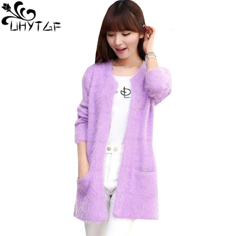 UHYTGF Spring Autumn Cashmere Tops Coats Women Loose Plus Size Sweater Coat Female Boutique Hippocampus Cashmere Cardigan Coat27