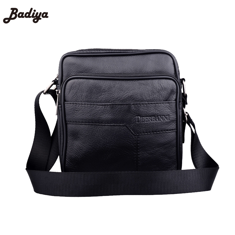 Casual Real Leather Men Bags Black Shoulder Bag Brief Style Business Cross Body For Man