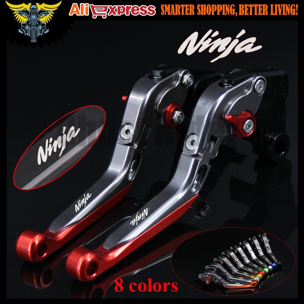 Laser Logo(Ninja) Folding Extendable CNC Red Motorcycle Brake Clutch Levers For Kawasaki NINJA 300R/Z300 2013 2014 2015 2016 foldable extendable brake clutch levers for kawasaki z250 z300 2013 2014 cnc 8 colors folding extending adjustable