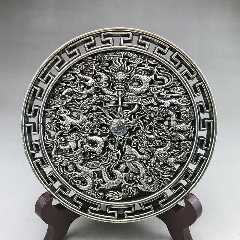 Sculptures chinoises anciennes tibétaines en cuivre argenté sculptées à la main de statues de Kowloon
