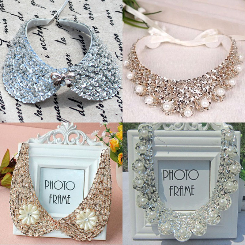 Trendy font b crystal b font jewellery pearl beads necklaces rhinestones detachable collar women necklace fine