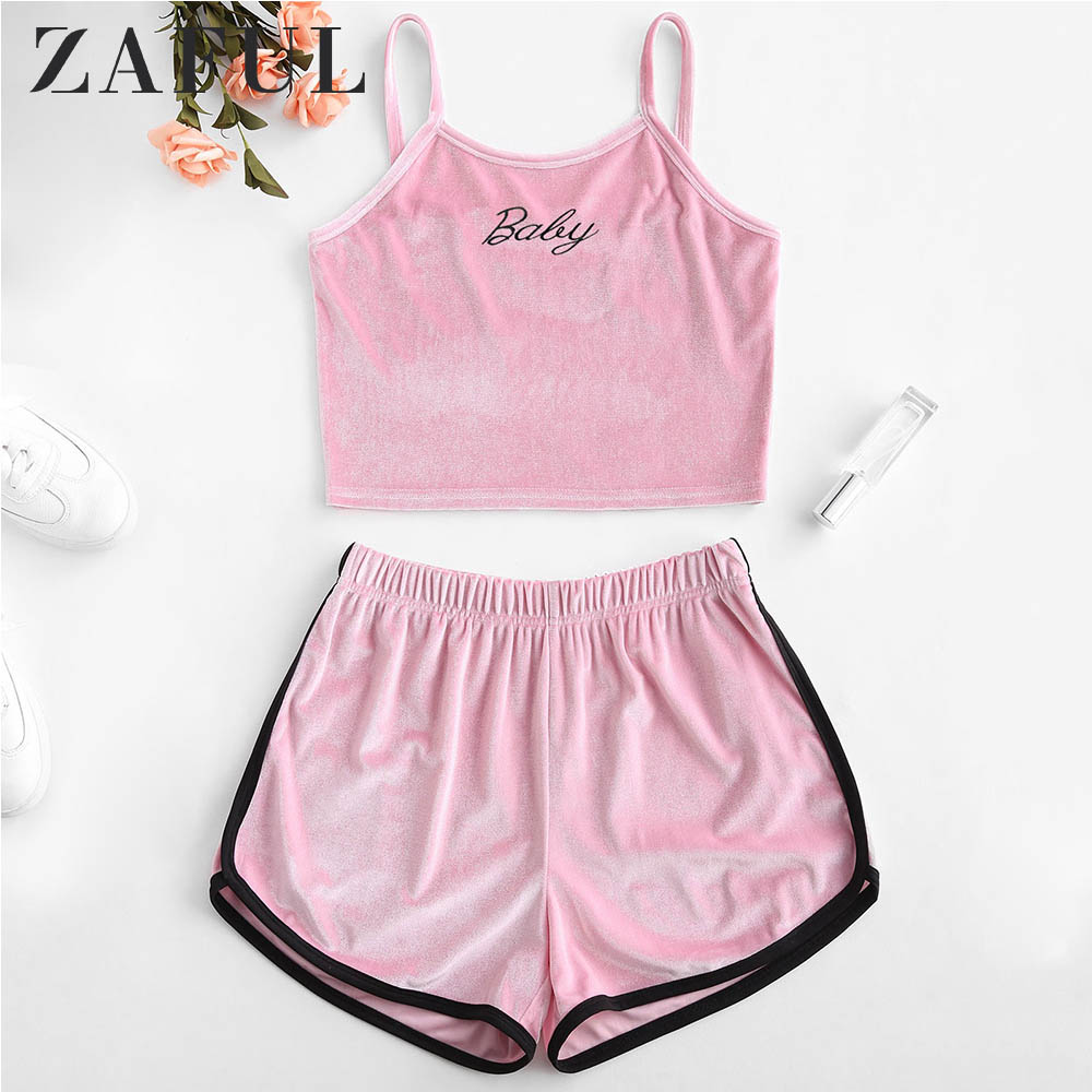 ZAFUL Sets Women Velvet Embroidered Top And Shorts Set Sports Wear Sleeveless Sexy Streetwear Bodycon Summer Women Clothes 2019