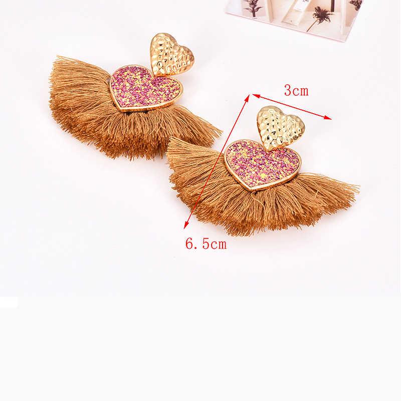 Đầm Vintage Đen Tua Dài Bông Tai Handmade Khích Cho Phụ Nữ Dân Tộc Đầm Maxi Lớn Pha Lê Kaki Bông Tai Trái Tim Trang Sức Thời Trang