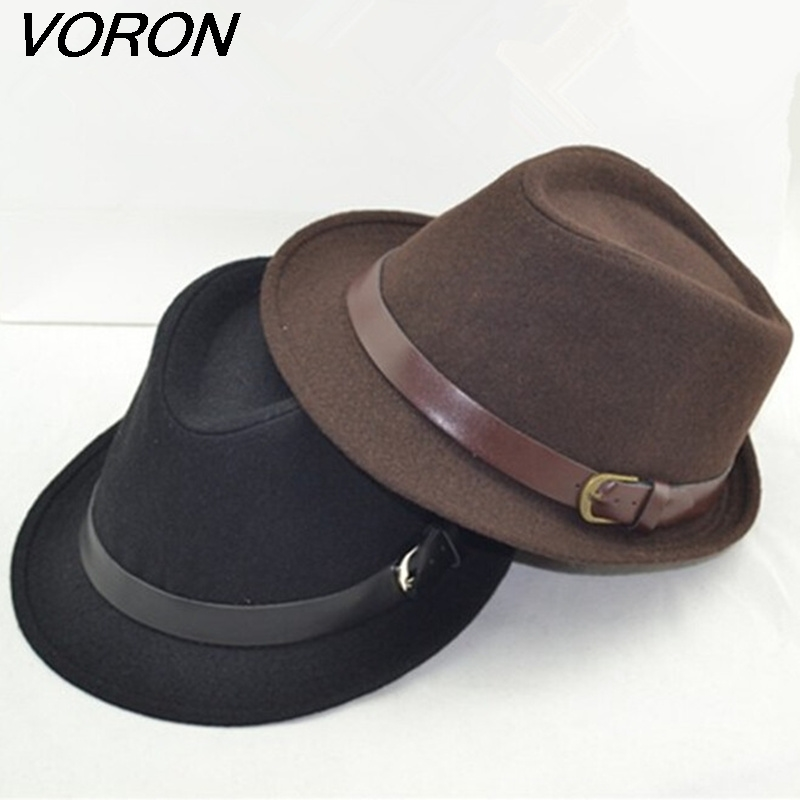 VORON 2017 Free Shipping Men Fedoras Women's Fashion Jazz Hat Summer Spring Black Woolen Blend Cap Outdoor Casual Dancing Hat