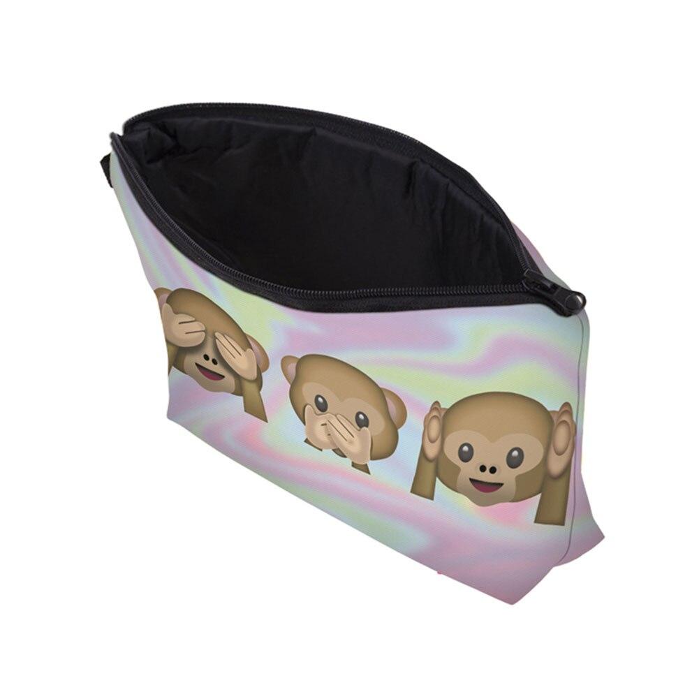 7db9a0566e8e Fashion Female Cute 3 Monkeys Printing Travel Cosmetic Bag Portable ...