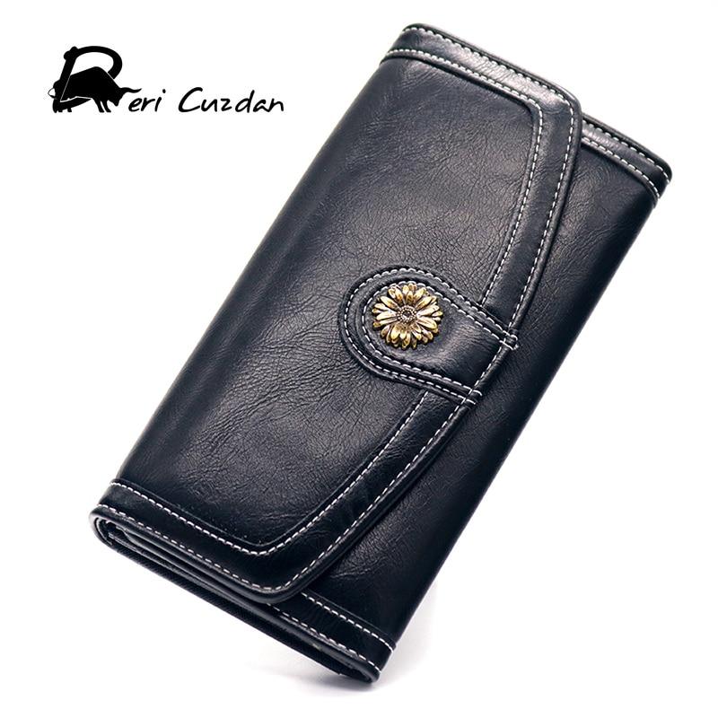 DERI CUZDAN Trifold Wallet Retro Vintage Black Hasp Purse Metal Flower Wallets Clutch Purse Luxury Couple Wallet Billetera Mujer fuzzy metal clutch wallet