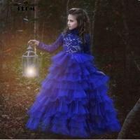 2018 новые с высокой горловиной Длинные рукава Королевский синий цвет пышные платья для выпускного вечера дети красивые детские красивые нар