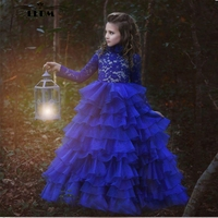 2018 new lace high neck long sleeve royal blue puffy dresses for kids prom beautiful children beauty pageant dresses