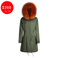 Top Quality Long Jacket Casual Design Thick Warm Orange Lined Hooded Collar Fur Parka Men Coat