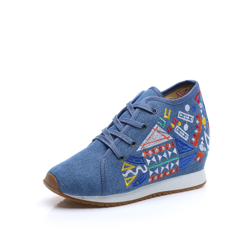Chinese Style Women Autumn Winter Fashion Casual Lace Up Embroidery Vulcanize Shoes Female Plus Size Cloth Fabric Shoes Smink 4