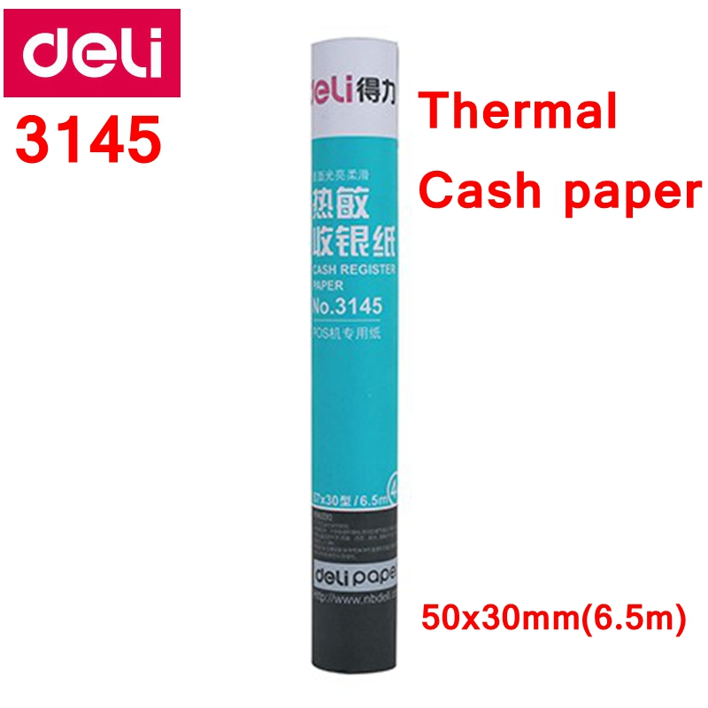 US $6 98  4 ROLL/LOT Deli 3145 Cash register Paper roll 50x30mmx5 6m  thermal paper heat sensitive paper thermal Cash paper-in Photo Paper from