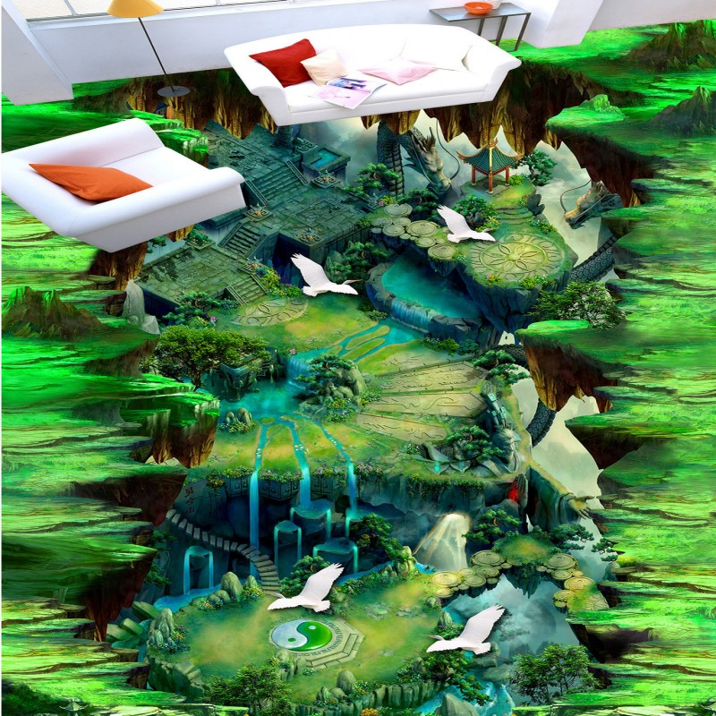 Free shipping custom Animation 3D outdoor flooring living room floor waterproof self-adhesive chinese photo wallpaper mural new and original e3t ft13 e3t ft11 omron photoelectric sensor photoelectric switch 12 24vdc 2m