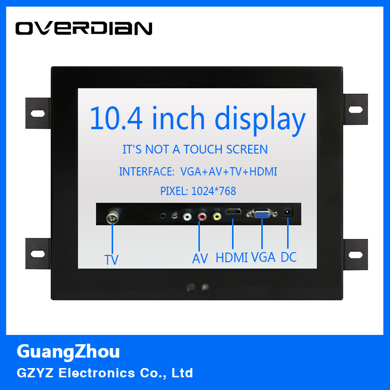 10.4/10VGA/HDMI/TV/AV interface Non-touch Screen Industrial Machines Metal Shell Embedded Lcd Monitor1024*768 Hanger Fixed 8 8 4 inch vga dvi interface non touch industrial control lcd monitor display metal shell buckle card installation 4 3