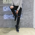 Hombres Flaco Ripped Jeans Para Hombre Moda Negro Rodilla Jeans Gastados Pantalones para hombre