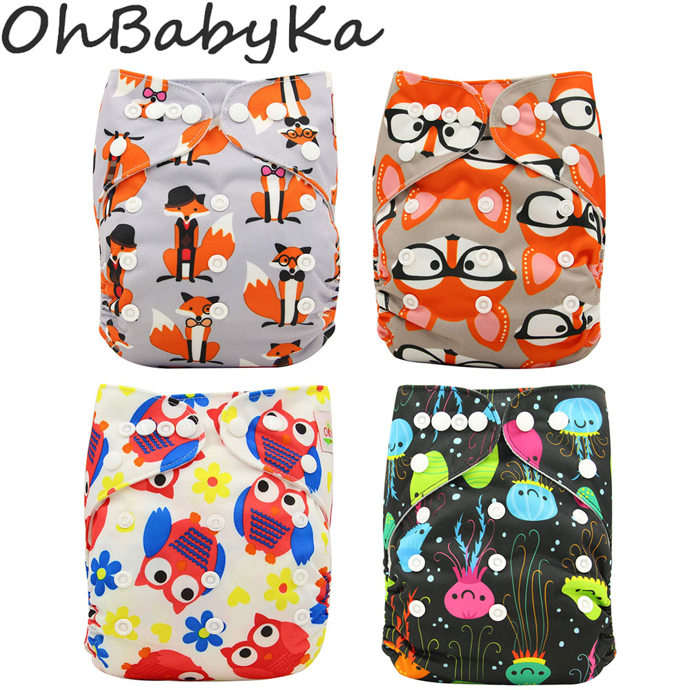 Ohbabyka Reusable Cloth Diapers Newborn Baby Nappies Anti-Leak Cloth Diaper Cover With Suede Cloth One Size Couche Lavable