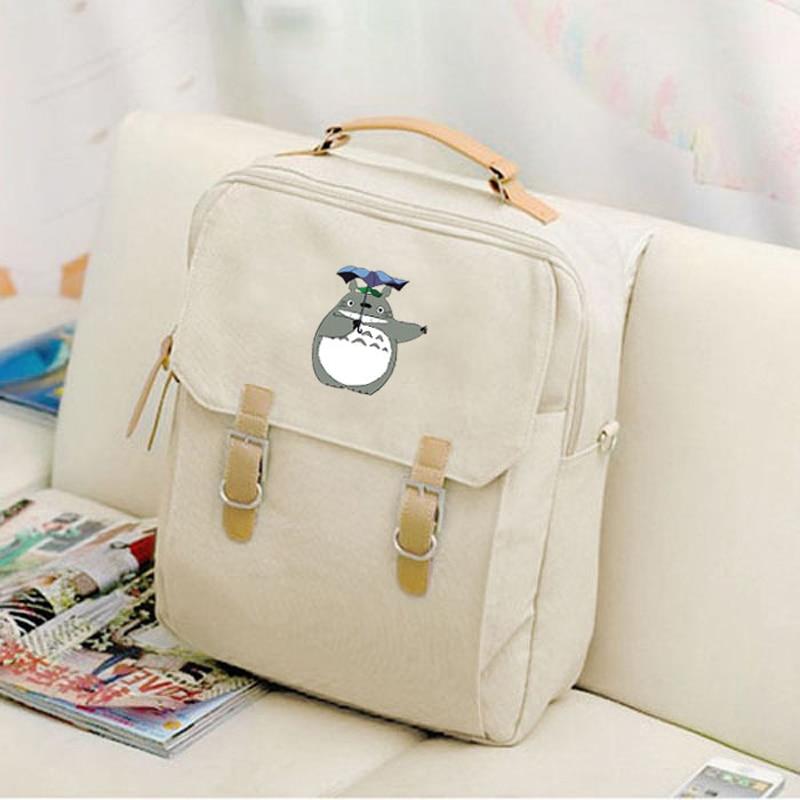 Canvas Laptop Backpack Anime Kawaii Totoro Miyazaki Hayao Women Cute Backpacks Student School Bags For Teenagers Girls