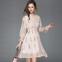 2018 New arrival High quality luxury runway V neck High Waist Chiffon embroidery Dress women Lace summer dress