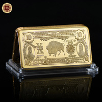 WR  Luxury Business Souvenir Gifts 10 Dollar Gold Banknote Metal Bars 24k 999.9 US Paper Money Fake Bars Value Collection