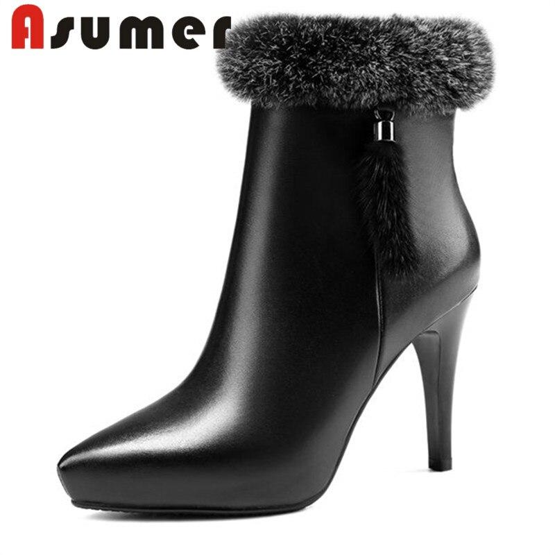 ASUMER 2018 mode cheville bottes pour femmes fasion bout pointu talons hauts bottes solide de haute qualité en cuir véritable bottes size34-39