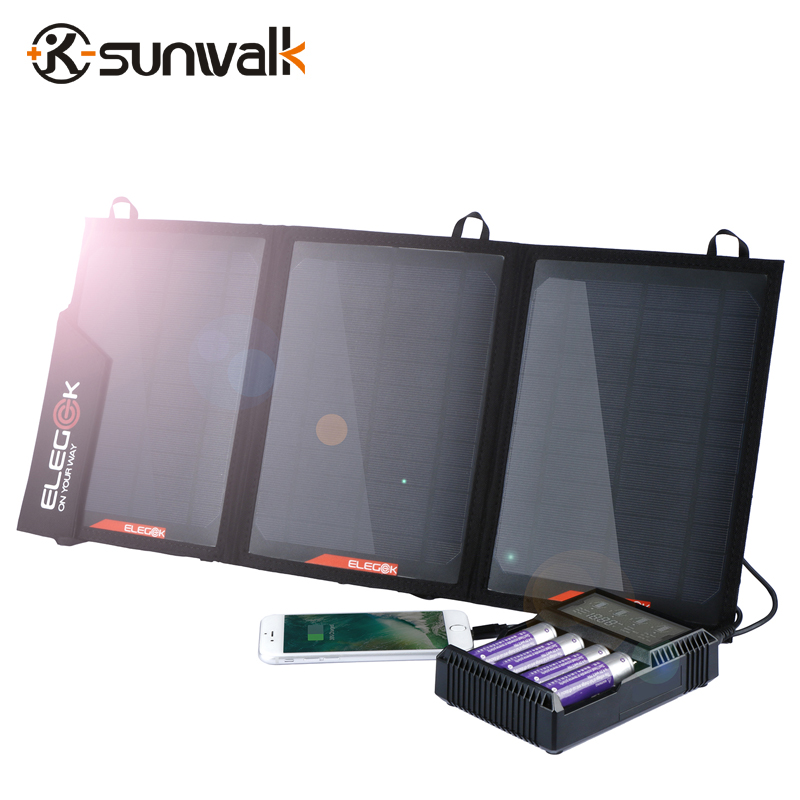 SUNWALK ELEGEEK 21W Foldable Portable Solar Panel Charger Battery 18V Solar Mobile Phone Cellphone Charger for Phones Tablets